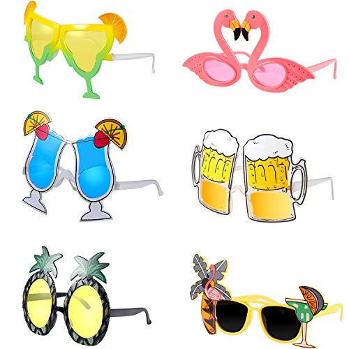 6 Pieces Hawaiian Tropical Sunglasses Funny Eyeglasses Costume
