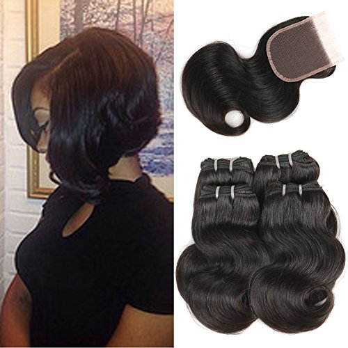 Brazilian Virgin Hair Body Wave Bundles with Closure Human Hair 4 Bundles with Free Part Lace Closure Bleached Knots Short Human Hair Black Friday Deals 2017 Natural Color(8 8 8 8 + 8 )