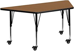 Flash Furniture Mobile 29.5''W x 57.25''L Trapezoid Oak Thermal Laminate Activity Table - Height Adjustable Short Legs