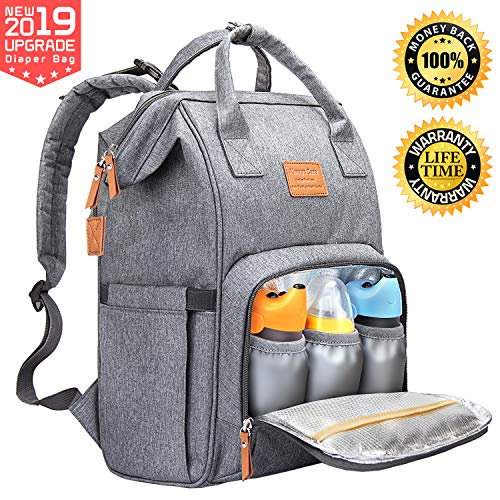 Backpack Diaper Bag Baby Multi-Function – Baby Bag for Mom Dad Nappy Bag with Insulated Pocket Waterproof Wide Opening Organizer Stylish and Durable Travel Back Pack Maternity Bag for Girls (Grey)