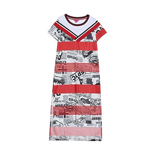 MiGMV?Robe Robes de l't 2018, l'usure Nouveau Style lache, moyennement Longue, Genou Robe imprime Femme, T-Shirt Couture,160/M,Couleur Mixte Rouge