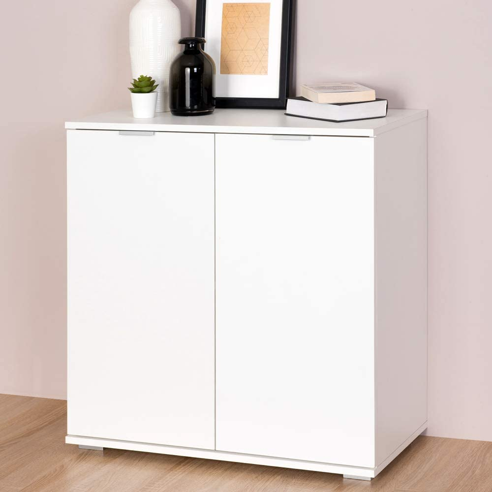 Deuba Cómoda con 2 Puertas Alba de Color Blanco para Oficina, salón, Dormitorio - Typ DB111