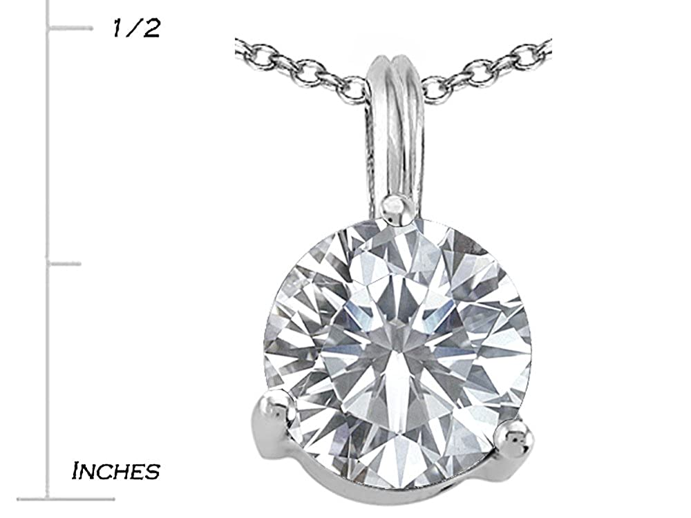 Tommaso Design Solid 14k White Gold Single Round 7mm Solitaire Contemporary Modern Pendant Necklace