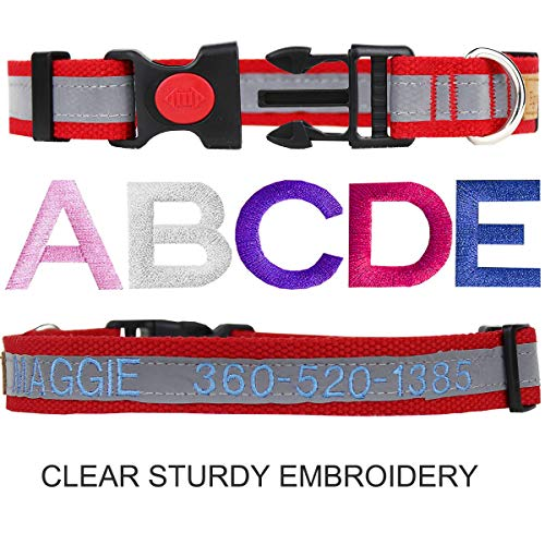 Personalized Dog Collar Reflective, Custom Embroidered ID Collars with Pet Name and Phone Number for Boy and Girl Dogs in Red, Blue and Pink, 3 Adjustable Sizes, Small, Medium and Large (Reflective)