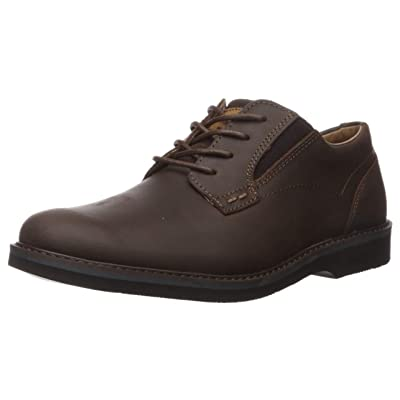 Nunn Bush Men's Barklay Plain Toe Oxford Lace Up, Brown Crazy Horse, 7 Medium | Oxfords