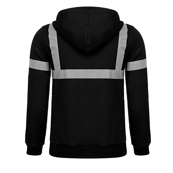 WM & MW Novelty Personality Mens Hoodie Coat Road Work High Visibility Pocket Hooded Pullover Sweatshirt Tops at Amazon Mens Clothing store: