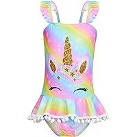 Beinou Traje de baño de una pieza para niñas traje de baño de unicornio traje de baño sirena con falda 4-10 años