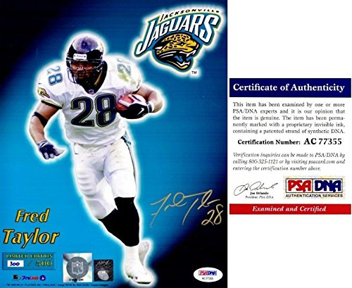 Fred Taylor Signed Photo - Jags Limited 8x10 inch Certificate of Authenticity COA) - PSA/DNA Certified