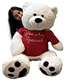 48 teddy bear - Big Plush Giant Teddy Bear 48 inch White Soft New, Wears Removable T-Shirt You are Special