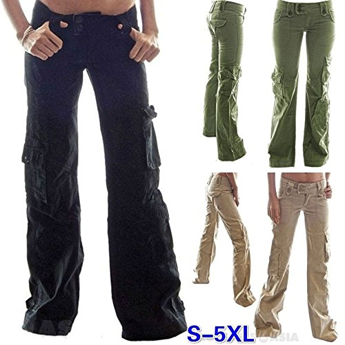 rackerose 2018 Solid Color Loose Jeans Cargo Pants Women's T