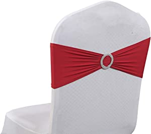 mds Pack of 100 Spandex Chair Sashes Bow sash Elastic Chair Bands Ties with Buckle for Wedding and Events Decoration Lycra Slider Sashes Bow - Apple Red