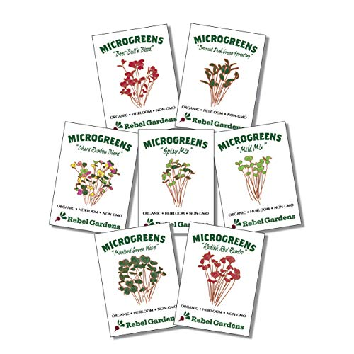 Microgreen Seeds Organic Mix - Microgreens Growing Kit - 7 Non GMO Varieties - Broccoli Raddish Mild Mix Spicy Mix and More