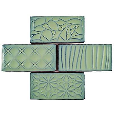 "SomerTile WCVASNL Antigue Sensations Ceramic Wall Tile, 3"" x 6"", Lava Verde"