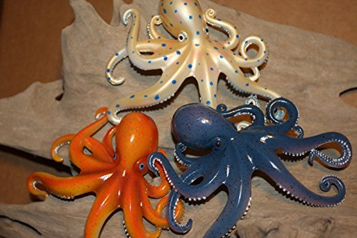 Salty Pelican Colorful Coral Reef Octopus Home Decor 3-D Raised Details Wall Hanging, Bundle of 3