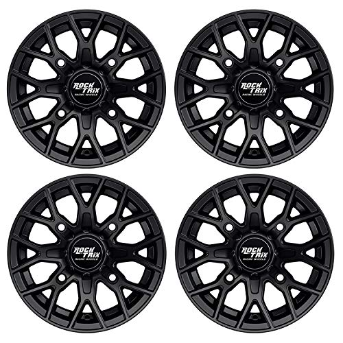 RockTrix RT104 4pcs 12 inch ATV Wheels 4x110 Rims (12x7, 5+2 Offset) for IRS Honda Kawasaki Yamaha Rincon Rancher Brute Force King Quad Kodiak Grizzly Rhino Independent Rear Suspension (12 In Atv Wheels)