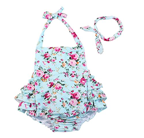 China Rose 50's Floral Ruffles Rompers Backless Dress Bathing Suit Swimwear (Medium,Light Blue) ()