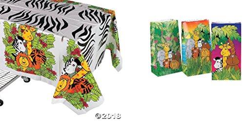 - Adorable Zoo Animal/Safari Party Decor - 1 Zoo Tablecover & 1 Dozen (12) Zoo Themed Goody Bags