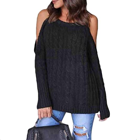 14ab75b49e3297 Gocgt Women s Long-Sleeves Sweaters Cold Open Shoulder Cut Out Knit T Shirt  Ribbed Tops