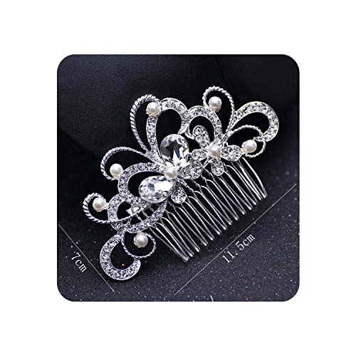 Rose Gold Wedding Hair Combs For Bride Crystal Pearls Women Hairpins Hair Accessories,R 11.5x7cm Silver