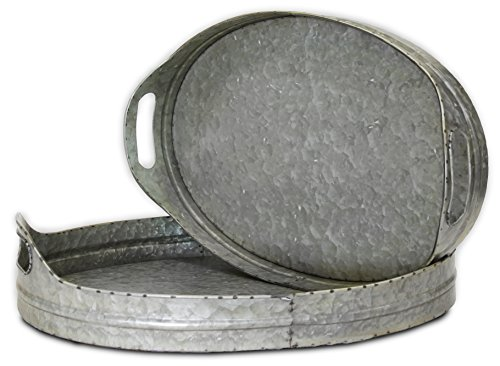 Oval Metal Tray, Set of 2, Galvanized, With Handles (Extra Large and Large Industrial Trays) | by Urban Legacy