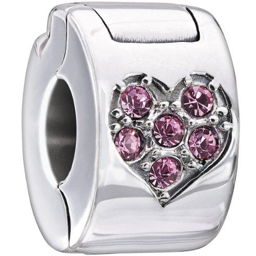 Authentic Chamilia Sterling Silver Charm Pink Jeweled Heart Lock w/Swarovski - Lock Jeweled Heart