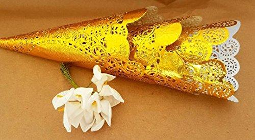 Wedding petal cones, Gold Wedding Confetti Cones,Gold Cones for Confetti, Confetti,Wedding cones,Paper Cones,Vintage wedding,lace paper (50)