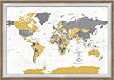 Push Pin FRAMED World Map with Pins, 30X45 Inches, Paper Anniversary, PERSONALIZED map