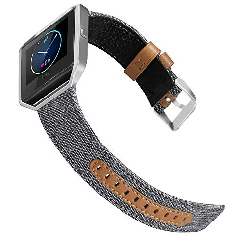 Jobese for Fitbit Blaze Bands, Soft Classic Canvas Fabric Straps with Genuine Leather Bands with Silver Metal Frame for Fitbit Blaze Accessories Wristbands (Large)