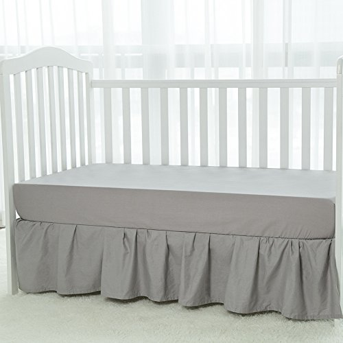 "TILLYOU Crib Skirt Dust Ruffle, 100% Natural Cotton, Nursery Crib Bedding Skirt for Baby Boys Or Girls, 14"" Drop Gray"