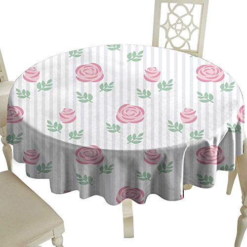 Stain-Resistant Tablecloth Seamless Wallpaper Pink Roses with Leaves on Striped Background for Kitchen Dinning Tabletop Decoration D39