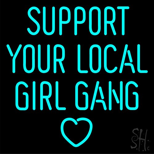 Desung Brand New 24''x24'' Support Your Local Girl Gang Neon Sign (Various sizes) Beer Bar Pub Man Cave Business Glass Neon Lamp Light DB274