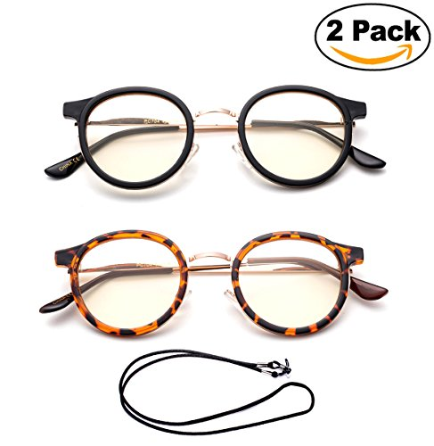 Newbee Fashion - Anti-Reflective Comfortable Computer Reading Glasses (No Magnification) Helps Eye Strain, Fatigue and Dry Eyes from Digital Devices with Anti-Blue Light, Anti-UV and - No Glasses Magnification