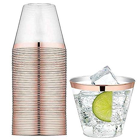 TOROTON 250ml Copas de plástico Desechables, 60 Piezas Vasos de plástico Duro Transparente para Celebraciones de Boda - Oro Rosa: Amazon.es: Hogar