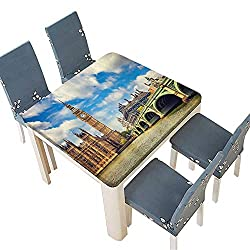 PINAFORE Jacquard Polyester Fabric Tablecloth Clock Tower and Westminster Bridge in Partly Cloudy in Spring Summer & Outdoor Picnics 72.5 x 72.5 INCH (Elastic Edge)