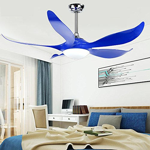 Reversible Acrylic - Akronfire Modern Ceiling Fan with 5 Reversible Acrylic Blades Remote Control Mute Fan for Decorating Living Room Dining Room 52 Inch (Blue)