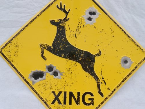 DEER CROSSING SIGN/BULLET HOLES/Rustic Hunting Cabin Lodge Street Road Decor new (Crossing Highway Sign Posters)