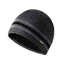 ルチアモナ メンズ ニット帽 ストライプ ニットキャップ 無地 内側に...