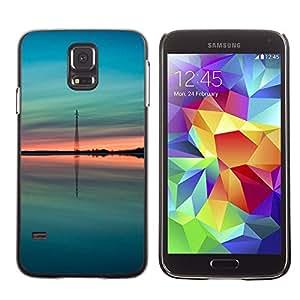 LECELL--Funda protectora / Cubierta / Piel For Samsung Galaxy S5 SM-G900 -- Teal Green Peach Summer Nature --