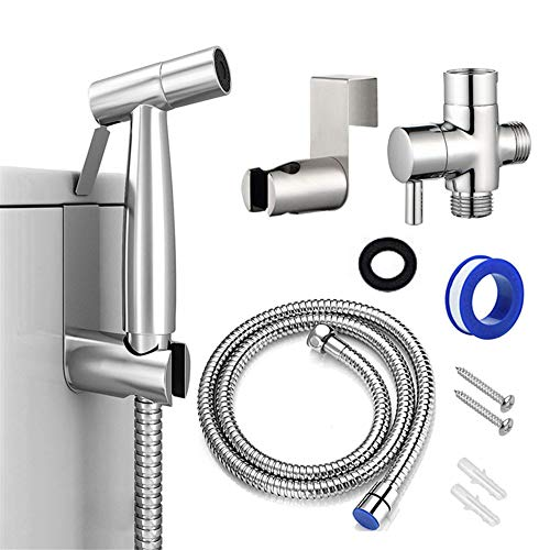Bidet Sprayer, Cloth Diaper Sprayer Handheld Toilet Sprayer Kit Stainless Steel Easy Install Great Water Pressure for Washing Chrome, Silver