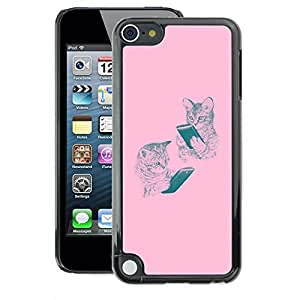 A-type Arte & diseño plástico duro Fundas Cover Cubre Hard Case Cover para Apple iPod Touch 5 (Pink Kittens Reading Book Cat Drawing)
