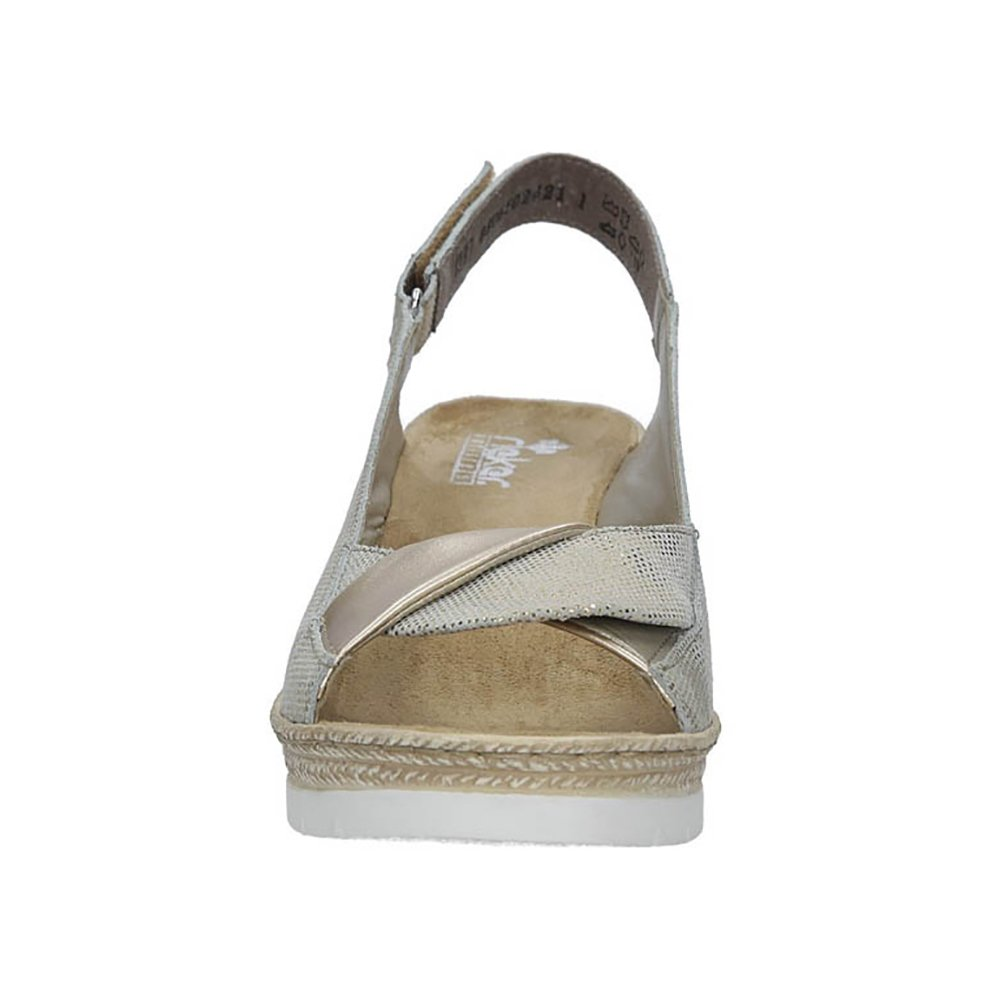 Rieker 61972-90 Damen Sandalen mit Keilabsatz Keilabsatz mit | Sommerschuhe Leder Klettverschluss Gold 9143ac