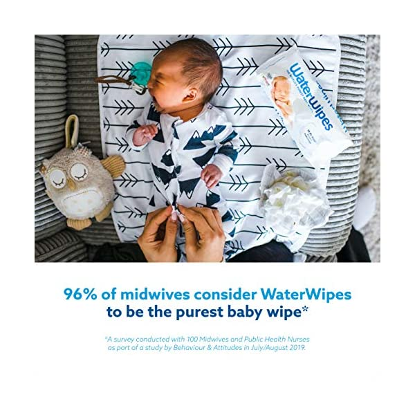 WaterWipes Salviettine Umidificate per la pelle sensibile dei bambini, 99,9% di acqua purificata, 12 Confezioni da 60 5