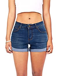 Women's Juniors Summer Mid-Rise Denim Shorts with 5-Pockets Plus Size