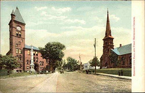 Meriden City Hall and First Methodist Church Meriden, Connecticut Original Vintage Postcard -