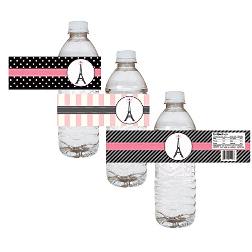 Paris Water Bottle Labels - Birthday Baby Shower Bridal Wedding Party - Set of 12 -