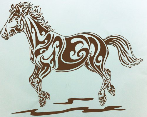 (Fancy Horse Vinyl Wall Decal Sticker Art Room Decor Chocolate Brown)