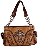 Western Style Satchel with Filigree Rhinestone Cross and Embroidery in Faux Leather Shoulder Bag- Available in 3 Colors (Tan), Bags Central