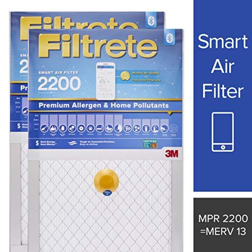 (Filtrete 20x25x1 Smart Air Filter, MPR 2200, Premium Allergen & Home Pollutants AC Furnace Air Filter, 2-Pack - S-EA03-2PK-6E)
