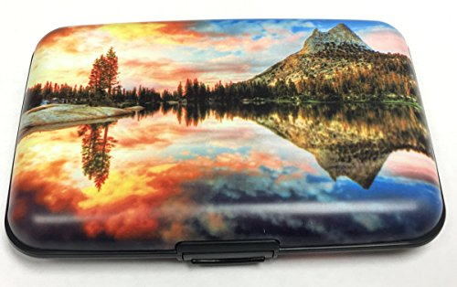 Fig Design Group Orange Sunset over Lake RFID Secure Theft Protection Credit Card Armored Wallet