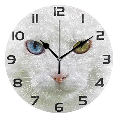 ALAZA Hipster Cute White Kitty Cat Round Acrylic Wall Clock, Silent Non Ticking Oil Painting Home Office School Decorative Clock Art